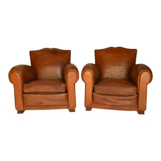 Pair of 1930s Leather Moustache Leather Club Chairs For Sale