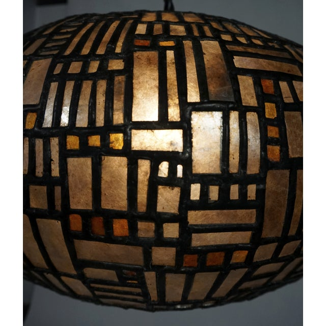 Gold Leaded Mica Hanging Sculpture Light by Adam Kurtzman For Sale - Image 8 of 10