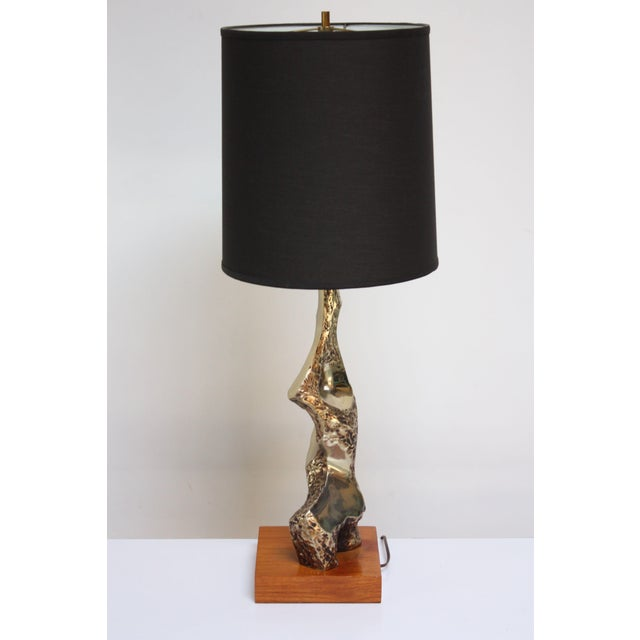 Laurel Lamp Company Sculptural Brutalist Brass Table Lamp by Maurizio Tempestini for Laurel For Sale - Image 4 of 13