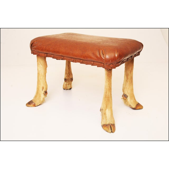 Vintage Brown Vinyl Foot Stool - Image 2 of 11