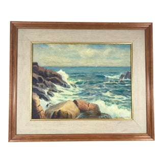 20th Century Realism Oil on Board Seascape by Evelyn Bicknell For Sale
