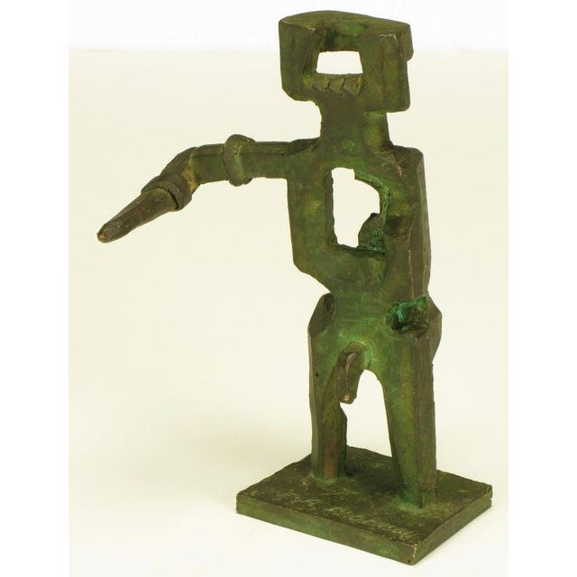 Pair Bronze Male & Female Abstract Sculptures, Signed. - Image 2 of 10