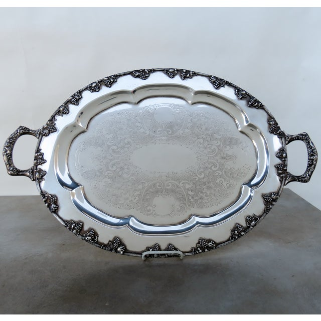 Vintage Silverplate Serving Tray For Sale In Los Angeles - Image 6 of 6