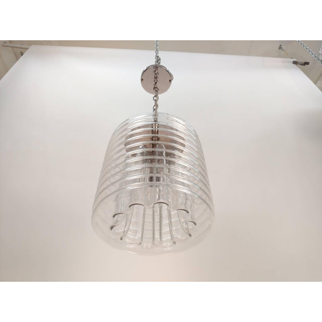 Mid-Century Modern Clear Ribbed Glass Pendant For Sale - Image 3 of 9