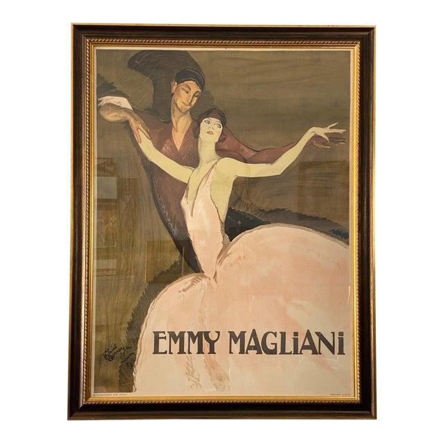"""Vintage Art Deco """"Emmy Magliani"""" Ballet Poster For Sale"""