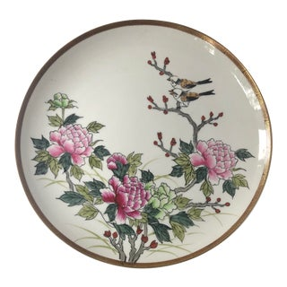 Large Round Chinoiserie Handpainted Porcelain Serving Platter With Birds and Peonies For Sale