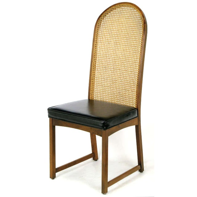 Four Milo Baughman Walnut & Cane Arch-Back Dining Chairs - Image 5 of 9