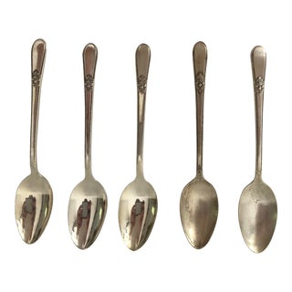 Art Deco 1847 Rogers Silver Plated Adoration Pattern Demitasse Spoons S 5 For Sale