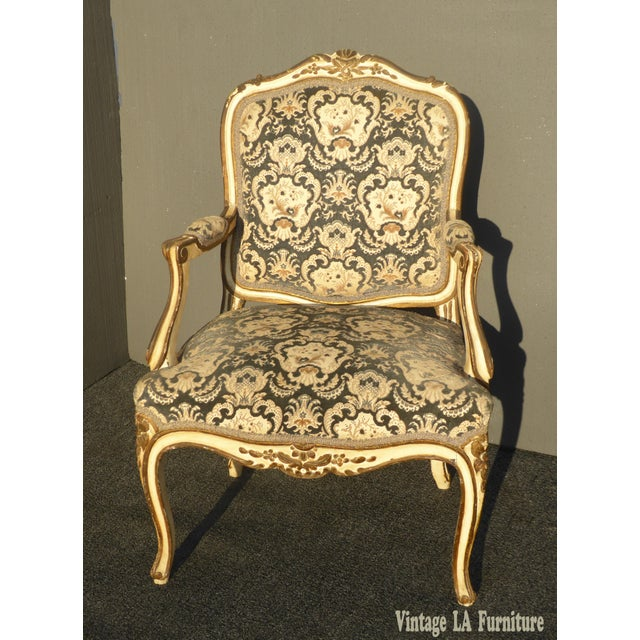 French French Provincial Arm Chair With Floral Velvet Upholstery For Sale - Image 3 of 11