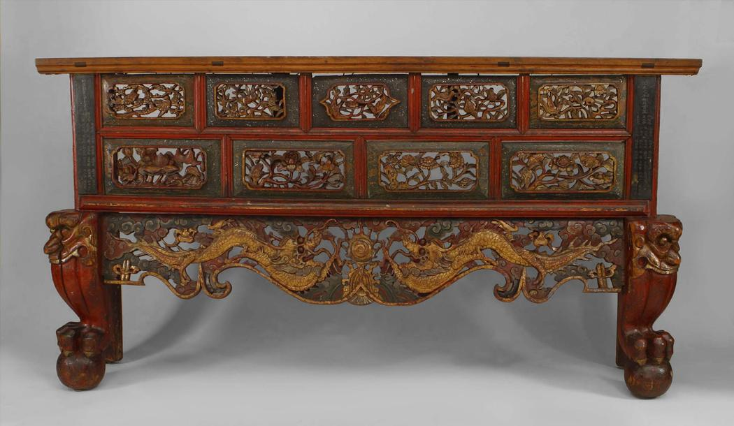 Exceptional Mid 19th Century Asian Chinese Style Large Red And Gold Lacquered Narrow Console  Table For Sale