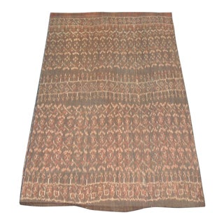 Vintage Brown and Tan Woven Ikat Textile Panel For Sale