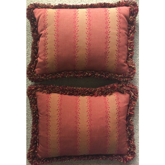 Vintage Orange & Red Silk Fringe Pillows - A Pair - Image 4 of 7