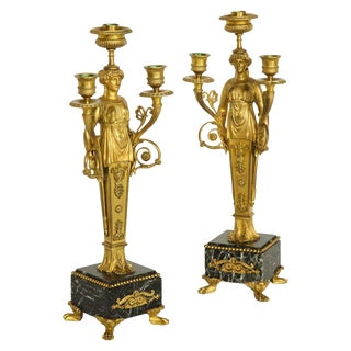 Pair of French Ormolu Bronze and Verde Antico Marble Three-Light Candelabra For Sale
