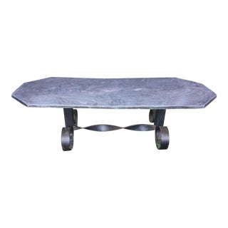 1960's Mid Century Modern Black Slate Wrought Iron Coffee Table For Sale