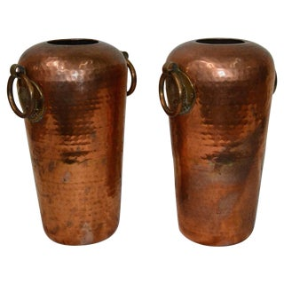 Pair of Hammered Copper Vases With Egyptian Details For Sale