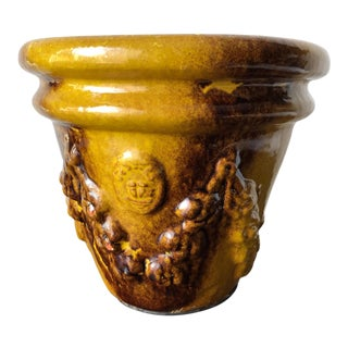 Anduze Terra Cotta Glazed Pottery Planter-Candle Filled For Sale