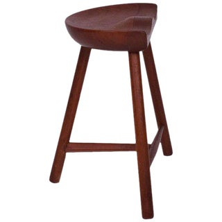 Scandinavian Sculpted Solid Teak Low Counter Stool 1950s For Sale
