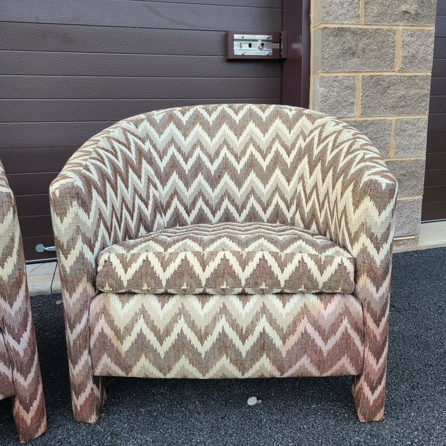 Founders Furniture Company Milo Baughman for Founders Three Legged Barrel Chairs - a Pair For Sale - Image 4 of 13