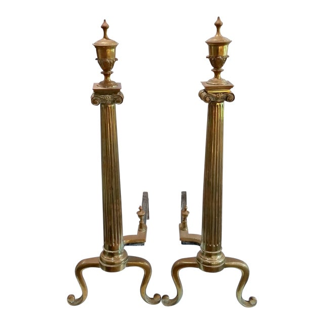Antique Neoclassical Columns & Urns Brass Fireplace Andirons - a Pair For Sale