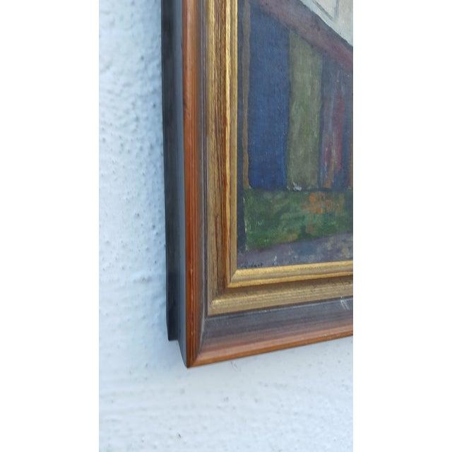 Blue 1964 Rodger Moprisk Rural Street Scene Oil Painting For Sale - Image 8 of 9