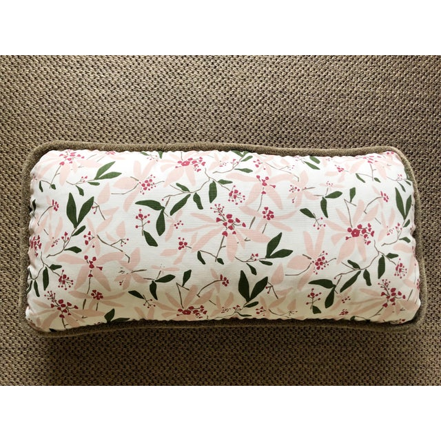 """2010s Custom Bolster Pillow of Block and Brayer """"Mountain Laurel"""" With Wooly Fringe For Sale - Image 5 of 5"""