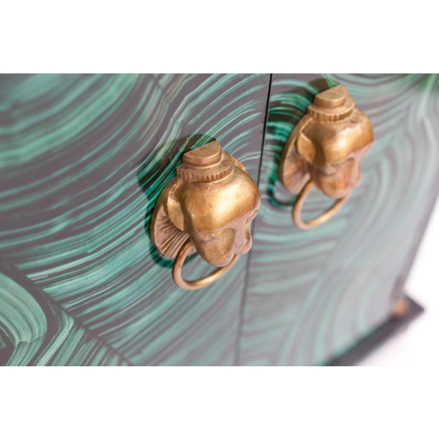 Art Deco Art Deco Faux Malachite Cabinet For Sale - Image 3 of 5