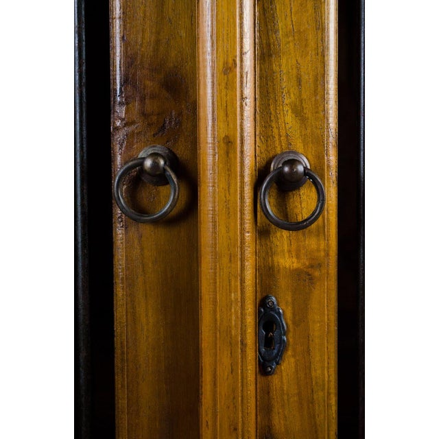 Bronze Vintage Indonesian Double Hinged Iron and Teak Cabinet For Sale - Image 7 of 13