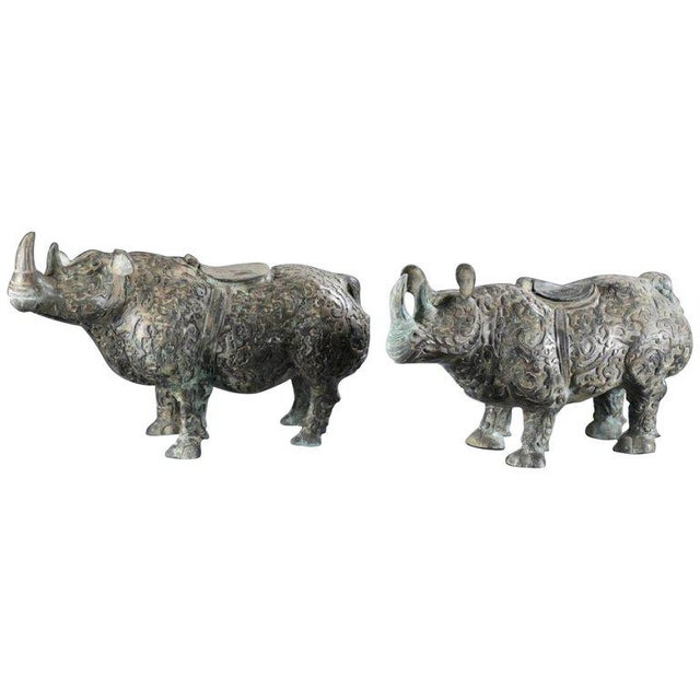 Chinese Bronze Rhinoceros Statues With Decorative Relief Pattern - a Pair For Sale - Image 10 of 10