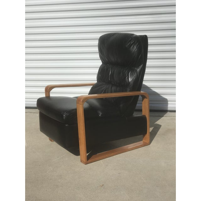 Mid-Century Modern 1950s Original Borge Mogensen Black Leather Lounge Chair With Ottoman For Sale - Image 3 of 10
