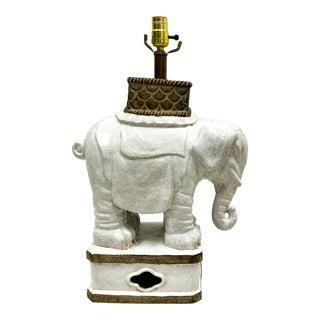 Mid-Century White Large Italian Terracotta Elephant Lamp For Sale