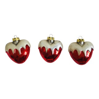 Vintage Hand Blown Glass Snowy Heart Ornaments - Set of 3