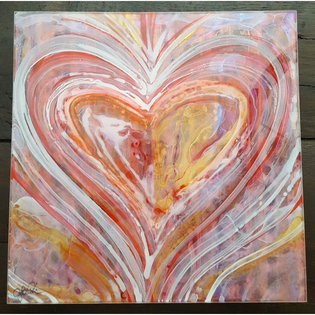 Christopher Martin Heart Paintings - Set of 4 - Image 5 of 10