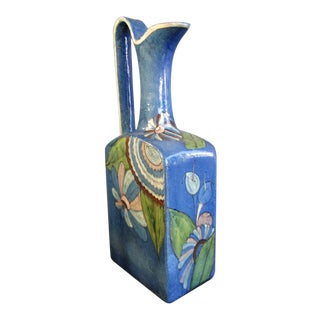 Monumental Tlaquepaque Ewer in Blue Glaze For Sale