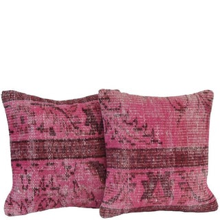 Pink Handmade Over-Dyed Pillow Covers - Pair For Sale