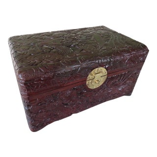 Vintage Asian Hand Carved Rosewood Cherry Lacquered Dragon Lock and Key Jewelry Trinket Box