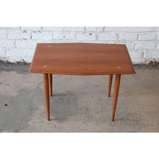 DUX Swedish Modern Teak and Brass Side Table by Dux For Sale - Image 4 of 10