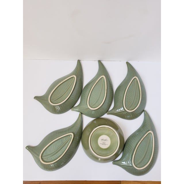 American Atelier Banana Leaf Stoneware Serving Tray For Sale - Image 10 of 13