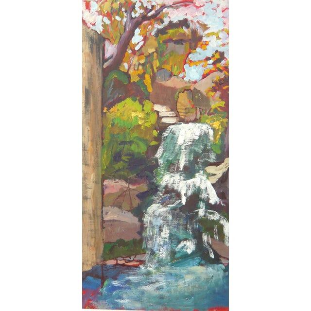 """Waterfall in the Japanese Garden"" Oil Painting - Image 4 of 6"
