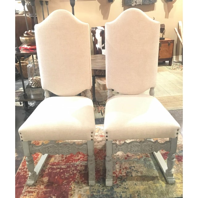 Late 19th Century Antique French Gray Blue Painted Chairs- a Pair For Sale - Image 13 of 13