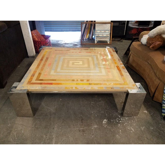 Gold 1970s Modern Marcello Mioni Pietra Dura Marble & Chrome Coffee Table For Sale - Image 8 of 11
