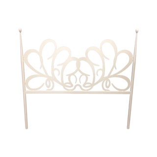 Shabby Chic White Iron Headboard For Sale