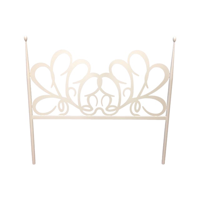 Shabby Chic White Iron Headboard - Image 1 of 4
