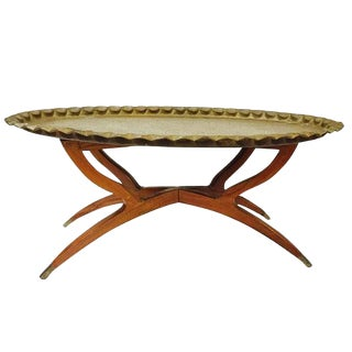 """Mid Century Modern Oval Brass Tea Tray Table 40"""" Moroccan Coffee Table With Spider Leg Base"""