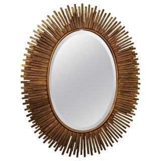Italian Midcentury Gilt Metal Oval Mirror For Sale