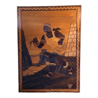 1971 Napoleon Rios Lima Peru Large Marquetry Inlaid Wood Art For Sale