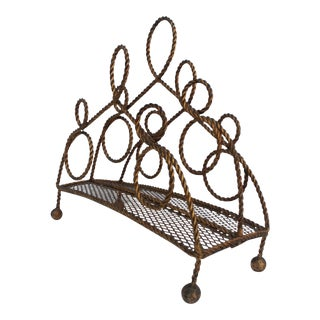 Italian Gilt Rope Magazine Rack