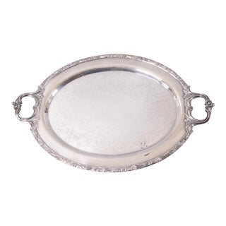 Vintage Silver Plate Oval Tray With Handles For Sale