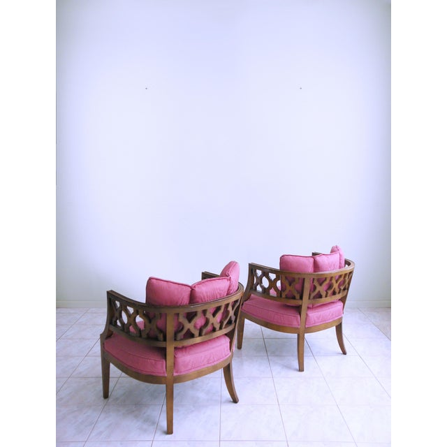 1960s Mid Century Pink Lattice Back Barrel Chairs After William Billy Haines - a Pair For Sale - Image 5 of 9