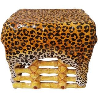 1960s Hollywood Regency Terra Cotta Leopard Print Faux Bamboo Garden Seat