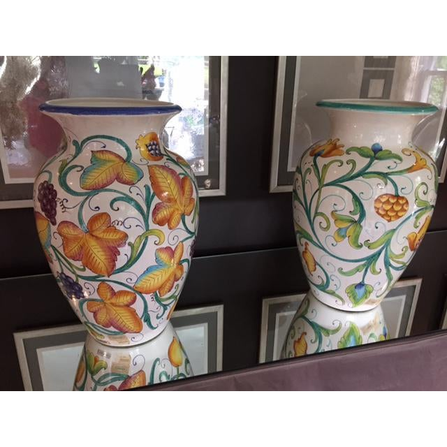 Colorful Italian Urns - A Pair - Image 2 of 4